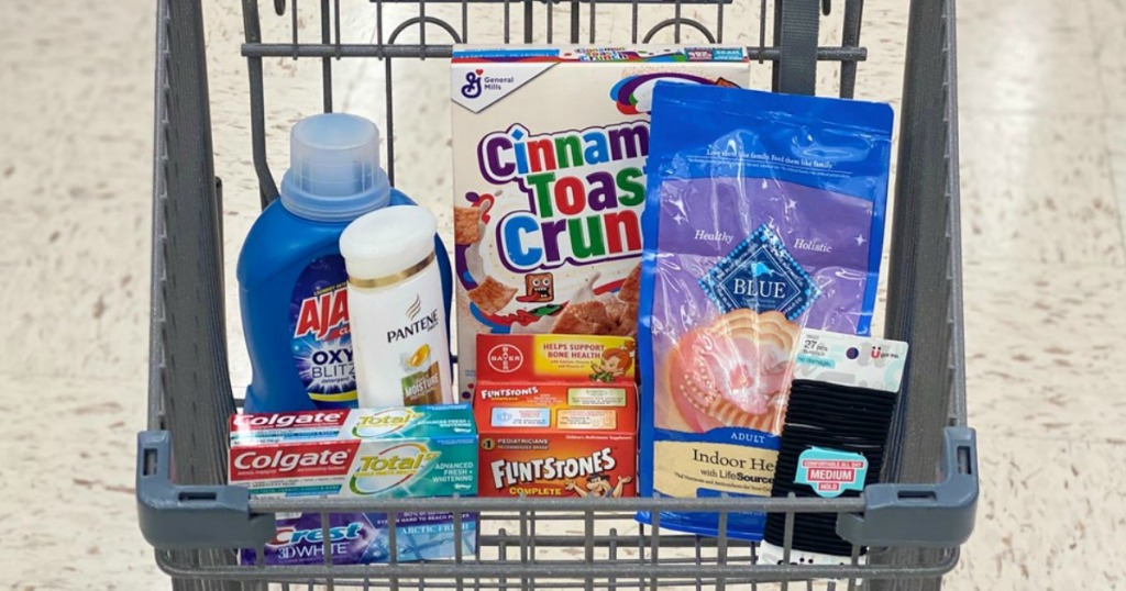 a variety of products in a store shopping cart