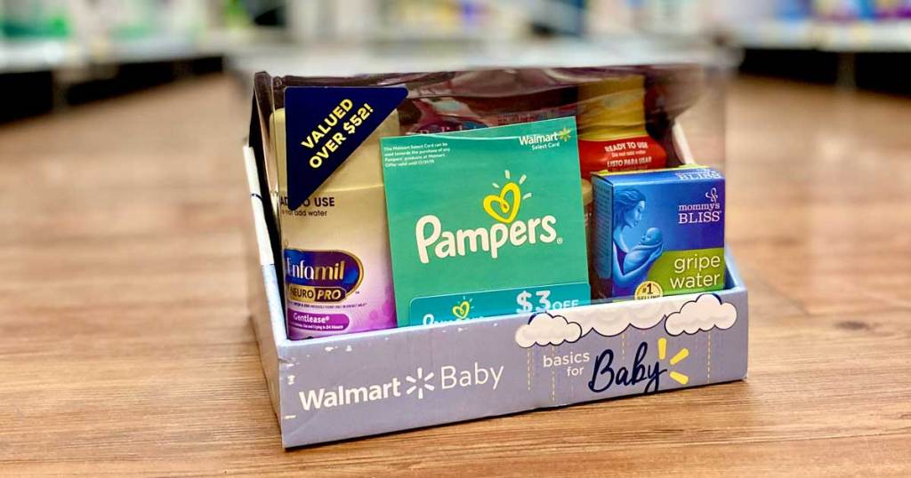 Walmart baby box of basics samples on the floor in a store