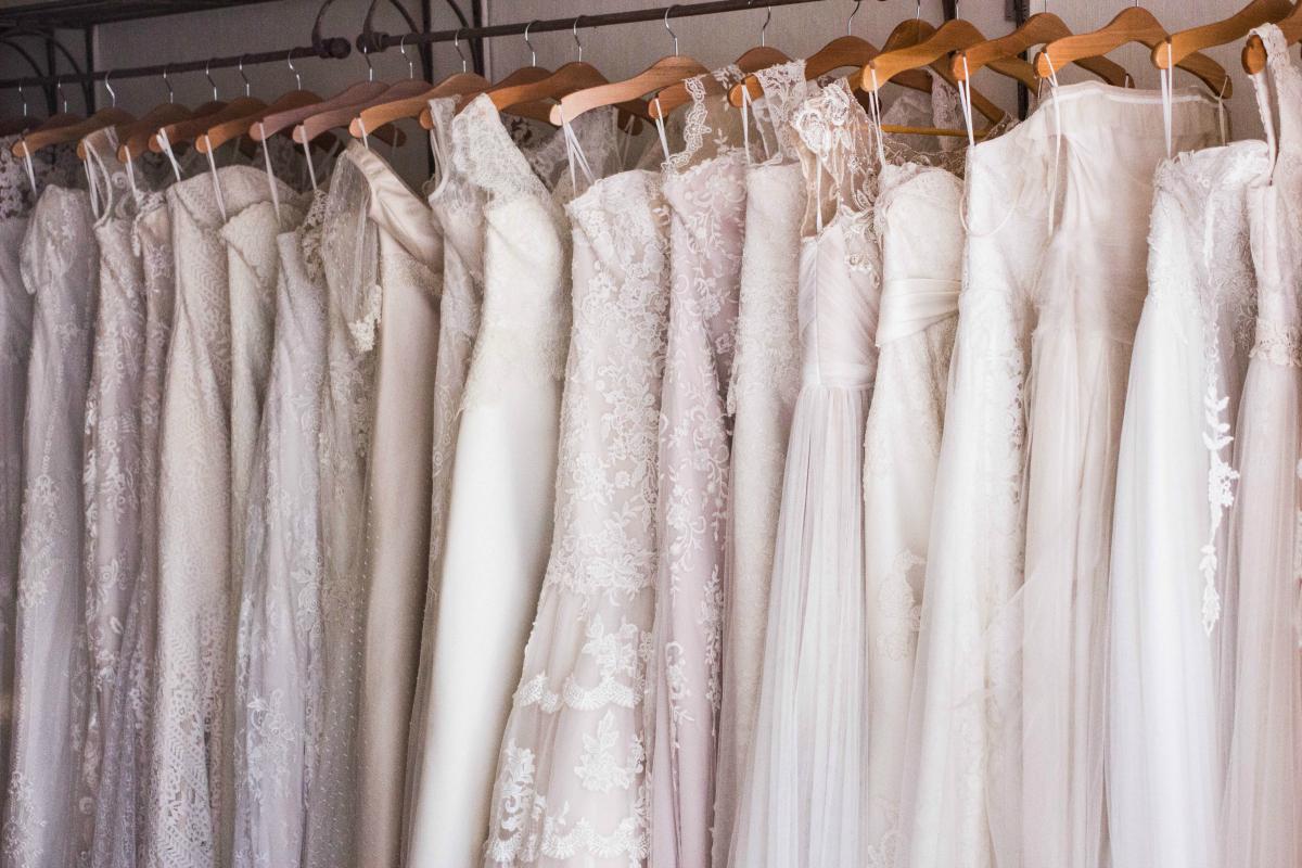 wedding dresses hanging up