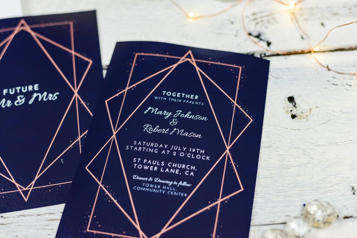 blue wedding invites