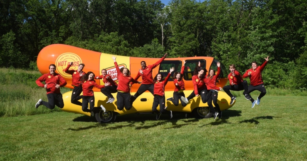Oscar Meyer Weinermobile with its drivers