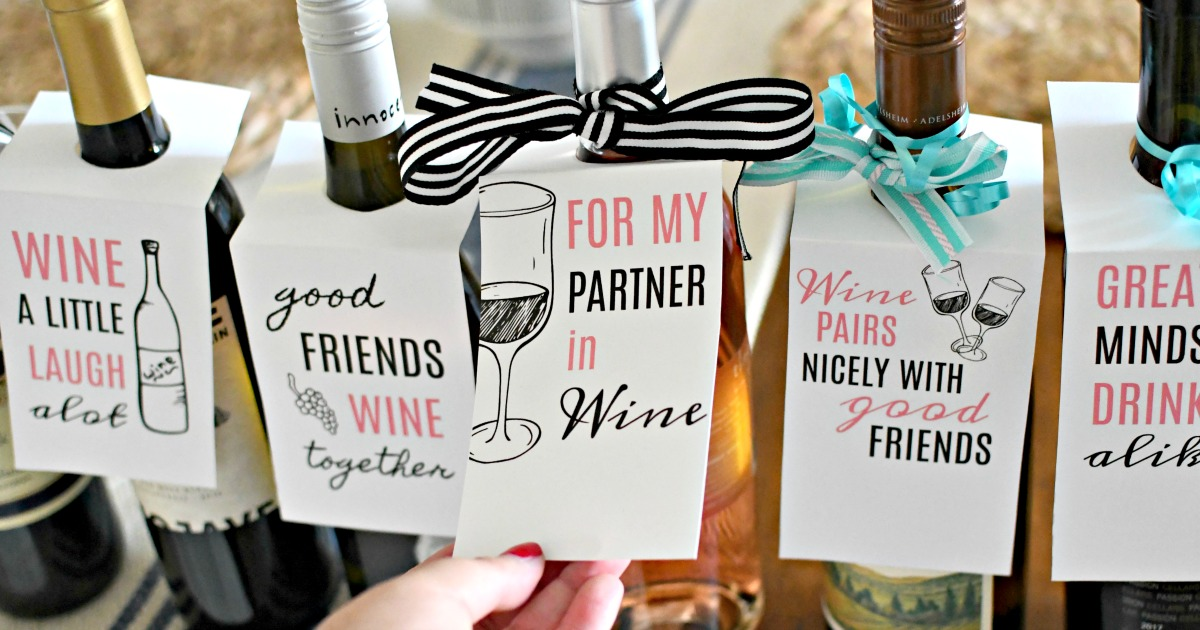 free printable wine gift tags on bottles as gifts