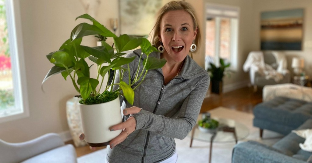 woman holding potted plant in living room