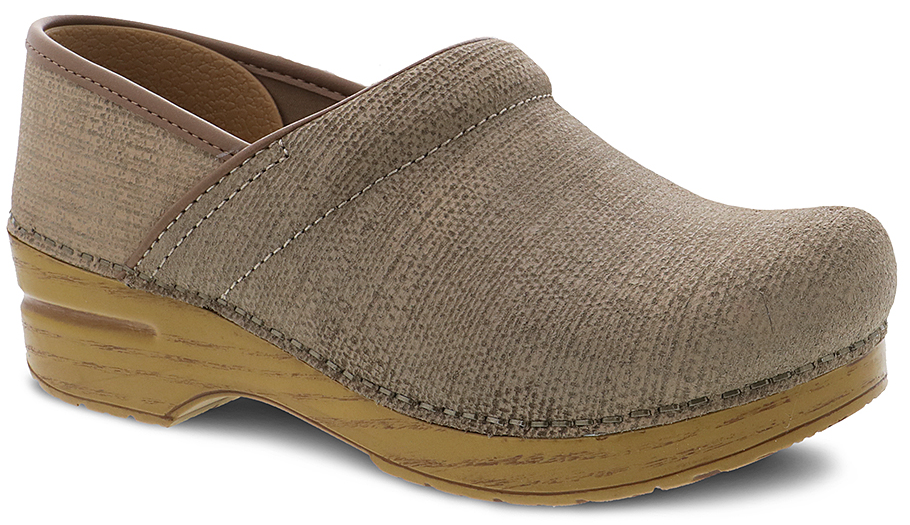 one woman's right foot textured clog