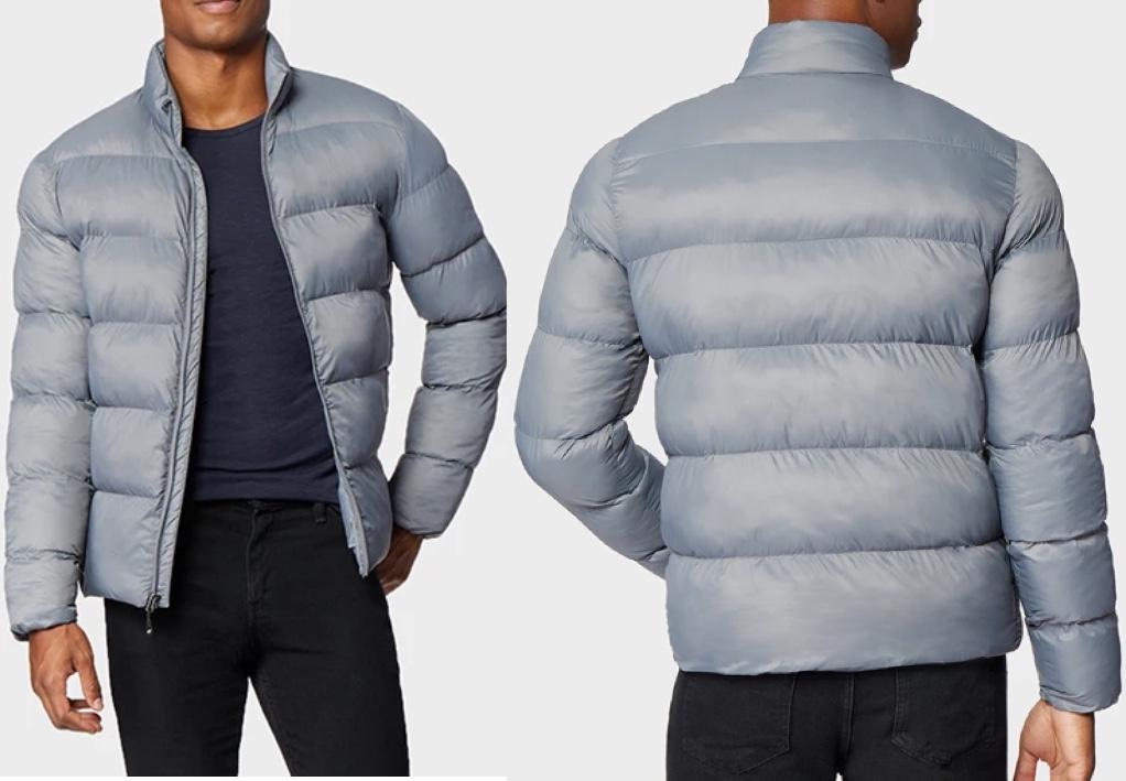 men's torso wearing puffer jacket