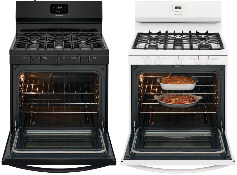 black and white models of gas range stove with open oven doors