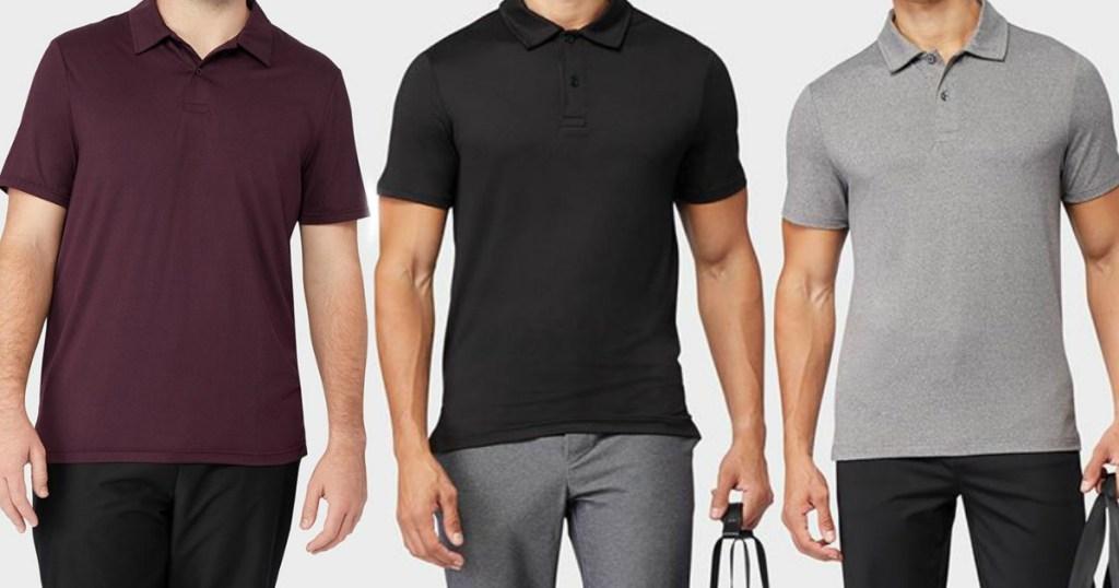 three men wearing polo shirts