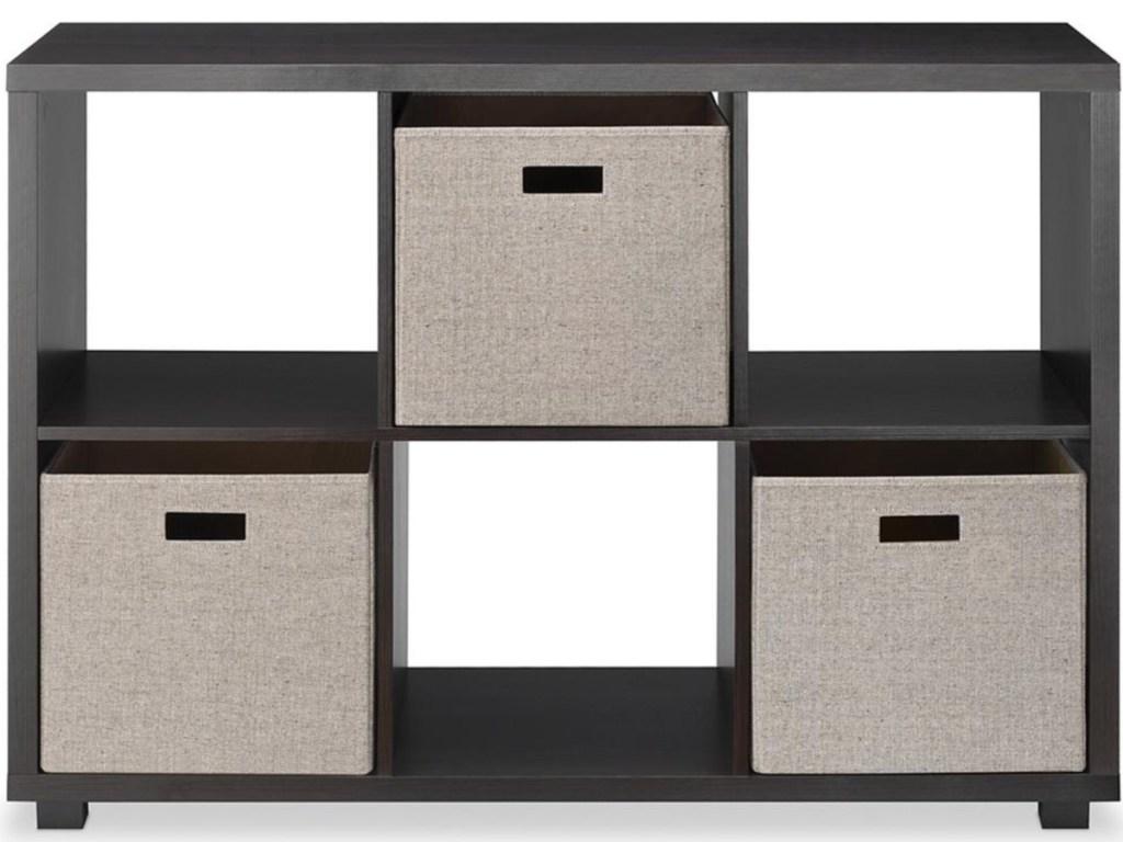 6-cube espresso shelf with three tan fabric bins