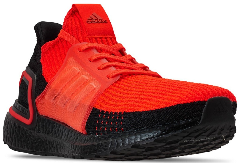 red and black men's adidas sneakers