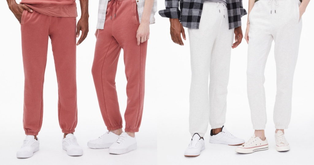men and women wearing red and white Men's Aero87 Taped Jogger Sweatpants