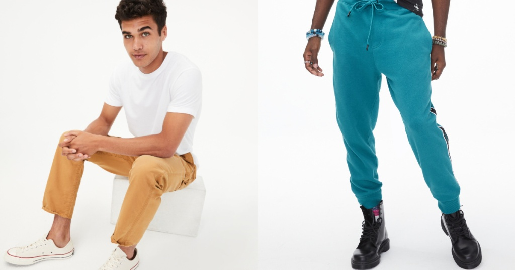men wearing yellow and blue AeroPostal Joggers and carpenter jeans
