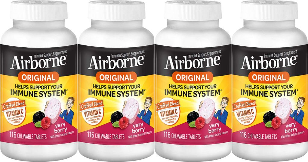 four bottles of Airborne Original Very Berry tablets