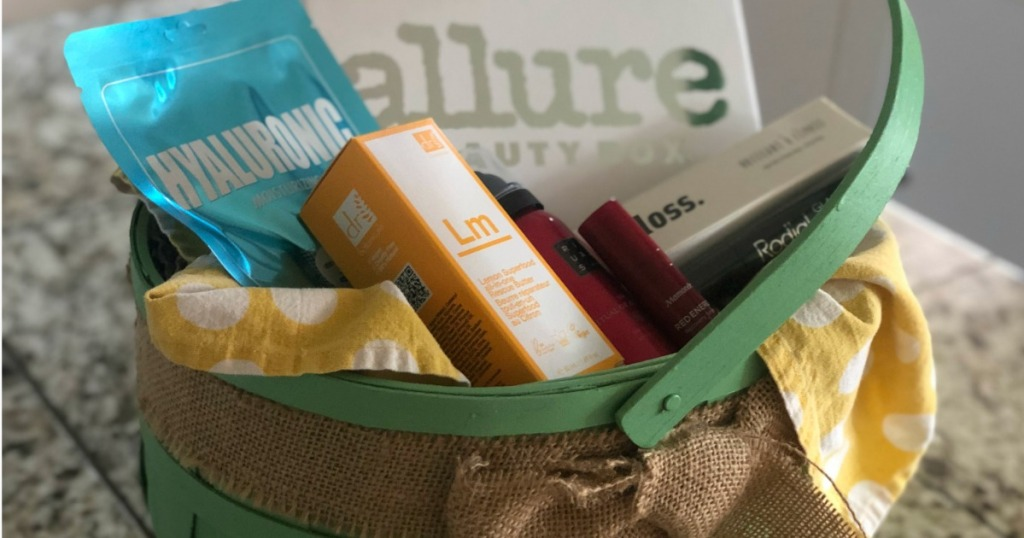 Allure beauty box with various products in it in an Easter basket