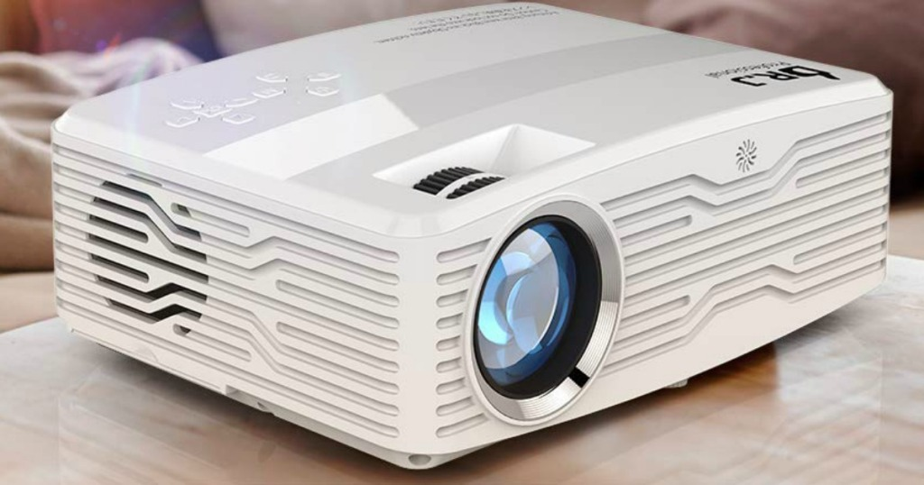 Large white projector on counter top