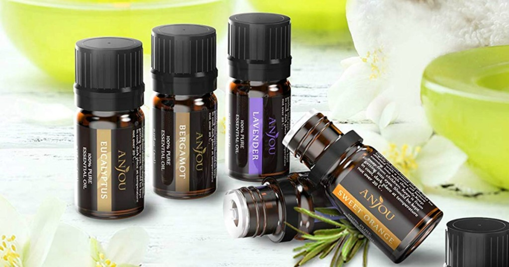 Anjou Essential Oils by lavender and fruit on a table