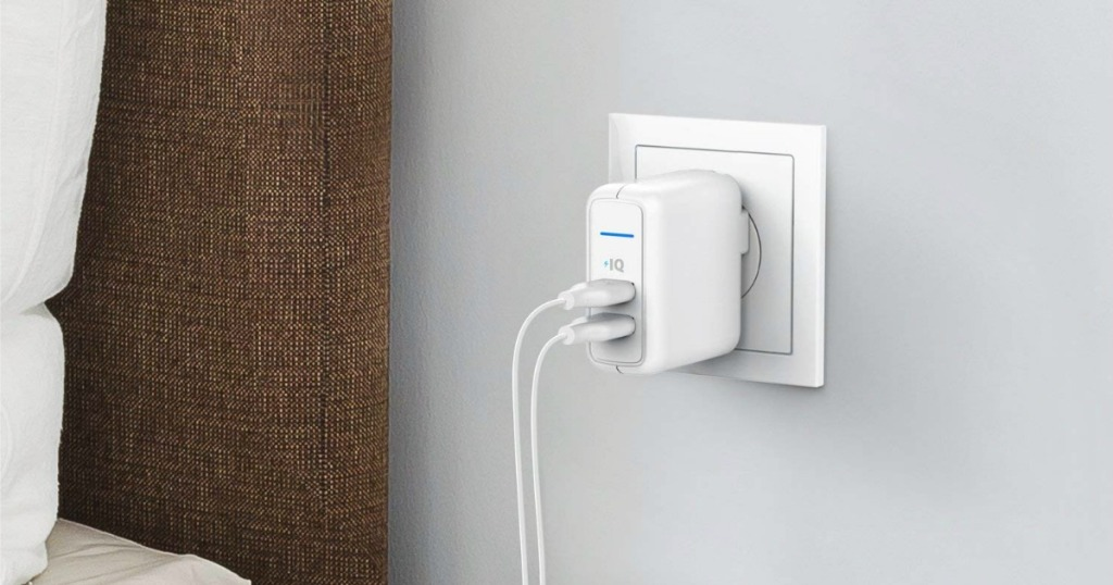 Anker Dual Charger in wall outlet