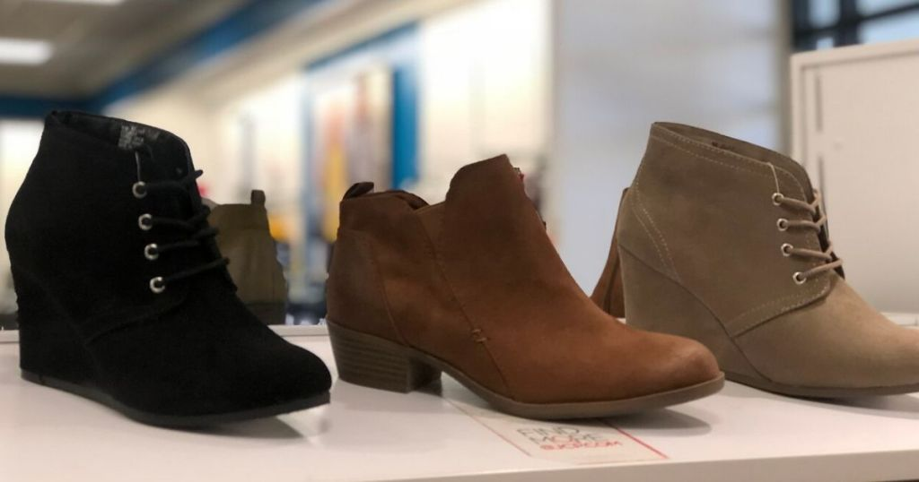 women's boots on a shelf
