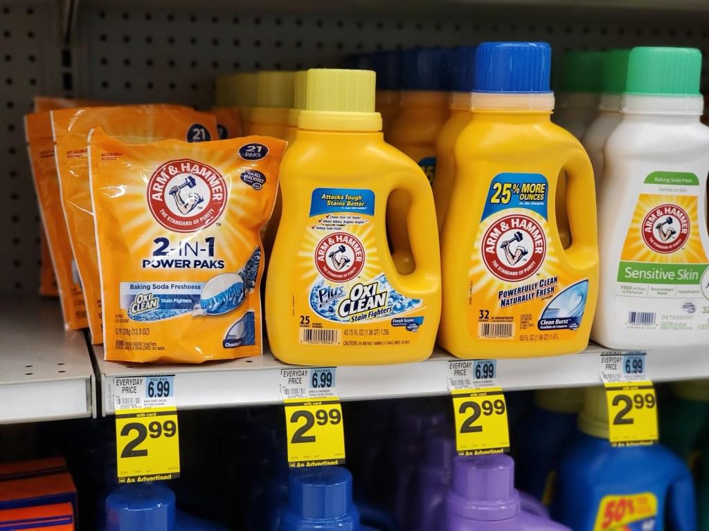 Arm hammer Detergents on Rite Aid Shelf