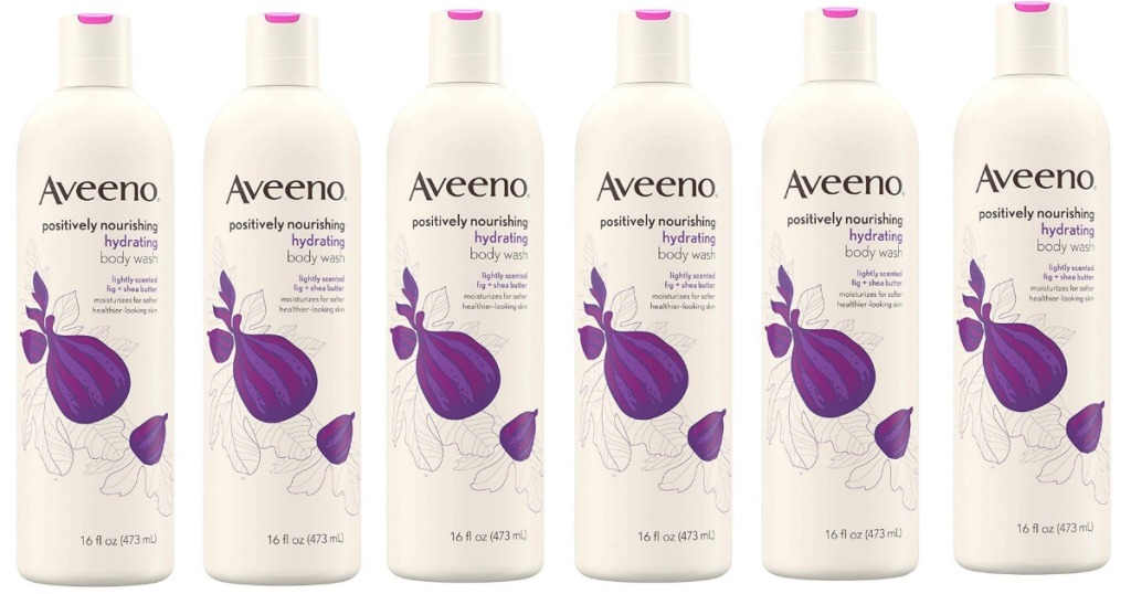 Bottles of Aveeno Positively Nourishing Hydrating Body Wash for Dry Skin with Natural Fig & Shea Butter