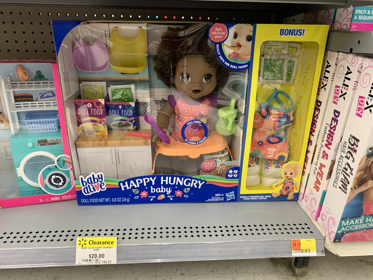 Baby Alive Happy Hungry Baby Black Curly Hair Doll on store shelf