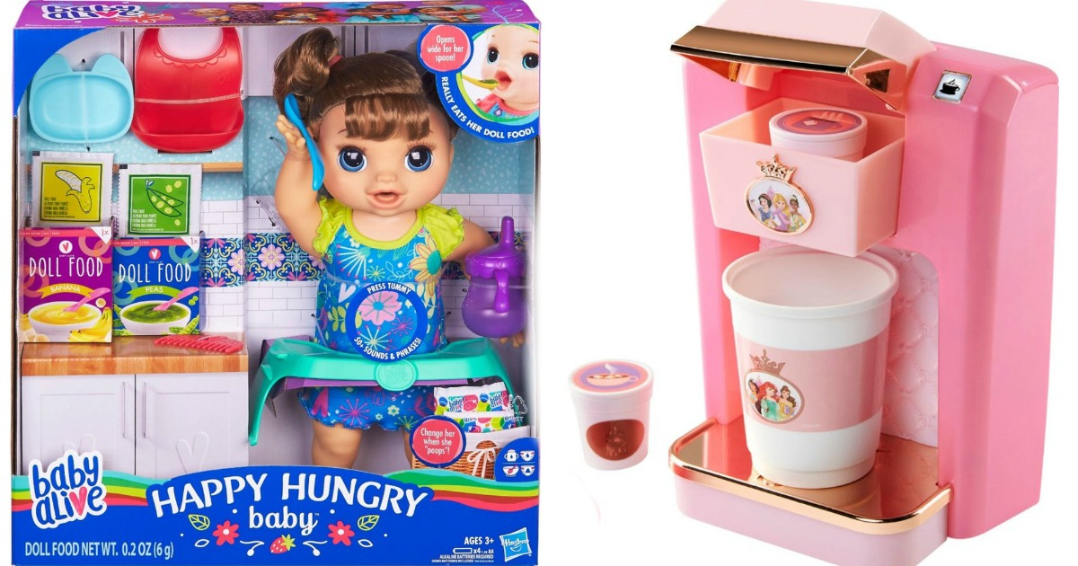 Baby Alive Doll in box next to toy Princess Coffeemaker