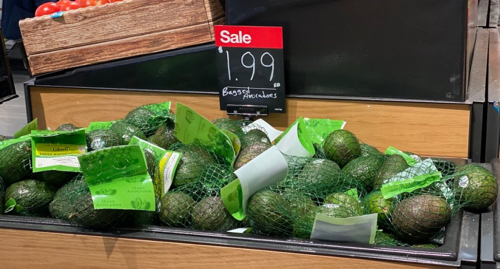 Bagged Avocadoes on display at Target