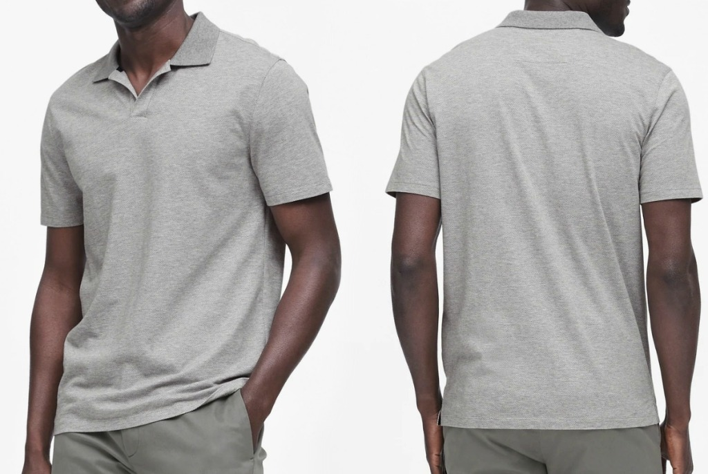 Man wearing gray polo tee with collar, front and back view