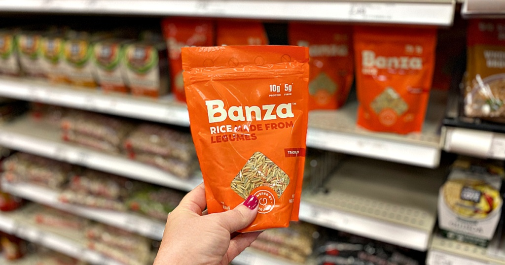 Banza Chickpea Rice in woman's hand in store