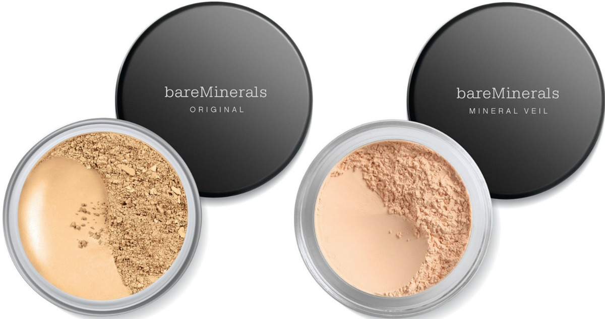 Two styles of mineral based makeup with tops off