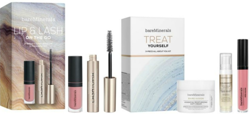 Two styles of gift sets of mineral based makeup