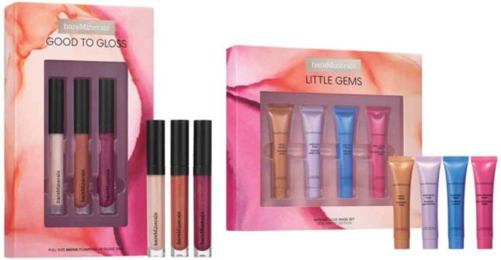 Two gift boxes of BareMinerals brand lipglosses