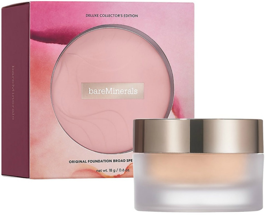 Large deluxe sized container of mineral foundation neat box package
