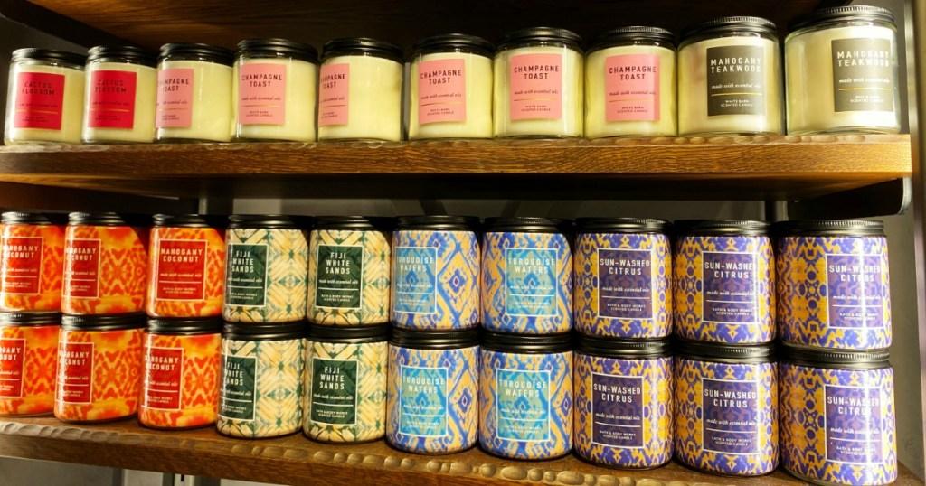 Store shelf of Bath & Body Works Single Wick Candles