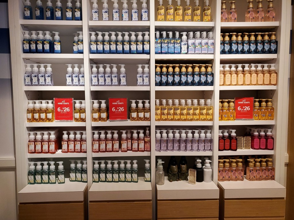 Bath and Body Works Wall of Hand Soaps