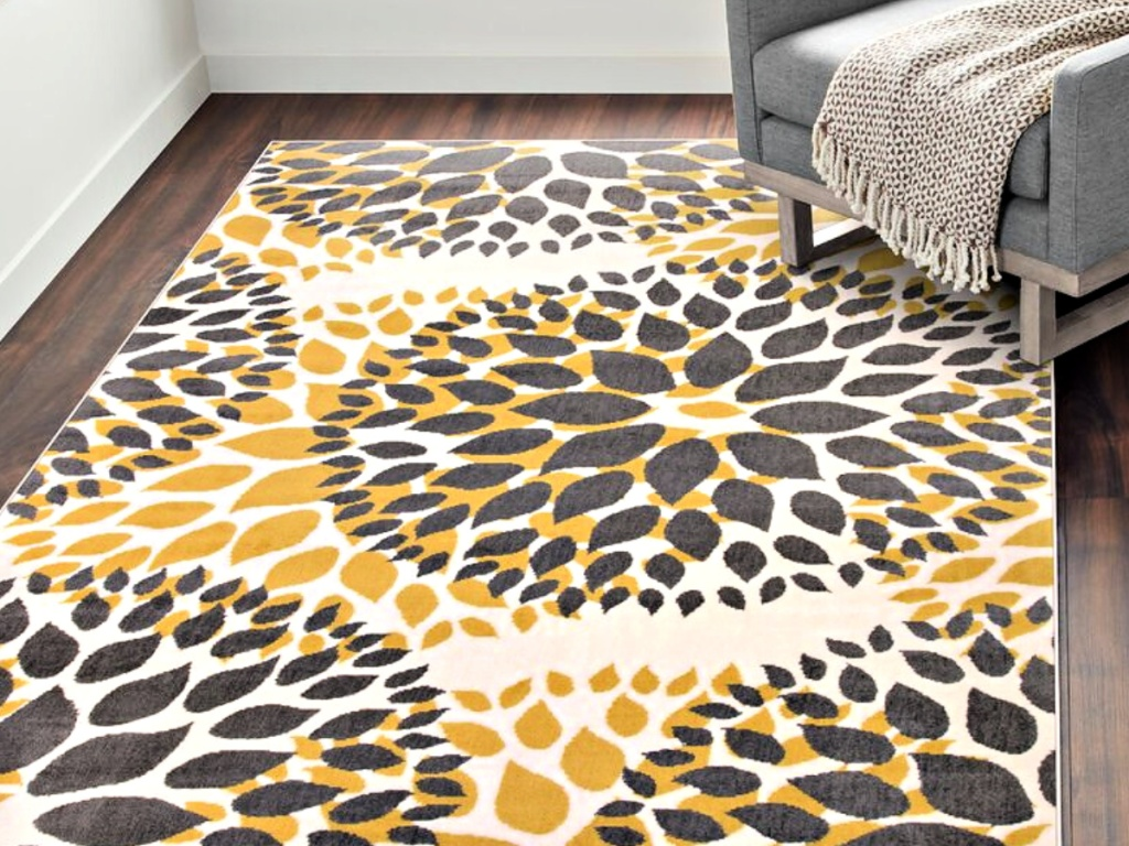 Beaudette Floral Yellow & Gray Area Rug with grey chair