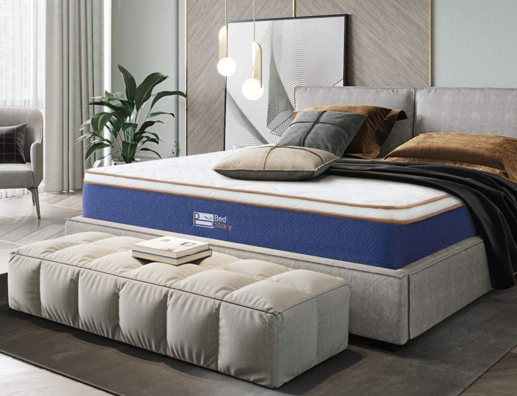 bedroom with a mattress on a bed