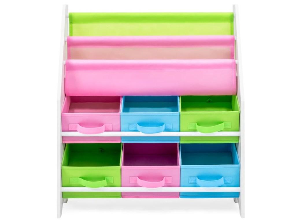 Kids Toy and Book Storage Organizer Shelf Rack w/ 6 Bins