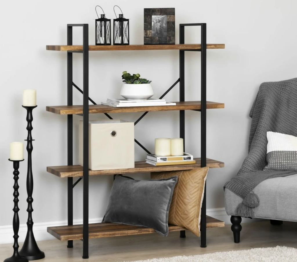 Open concept shelf with pillows, picture frames and more