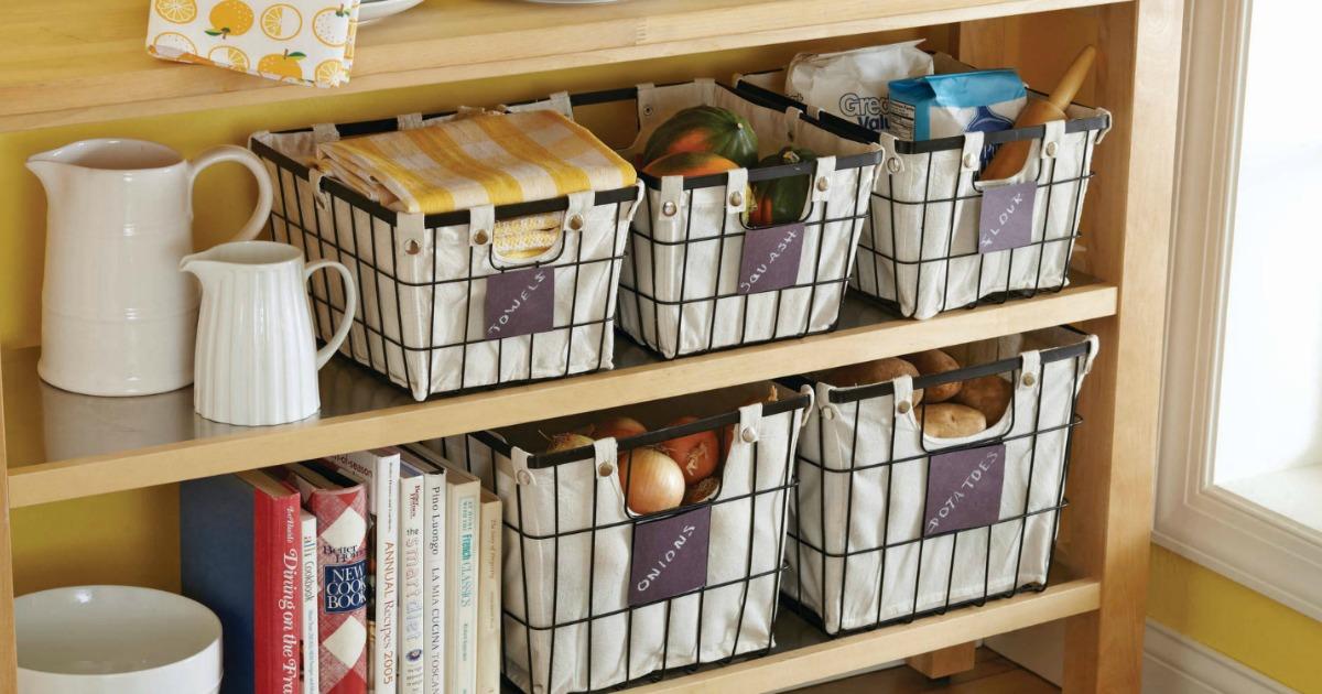 Better Homes & Garden Baskets in kitchen shelves