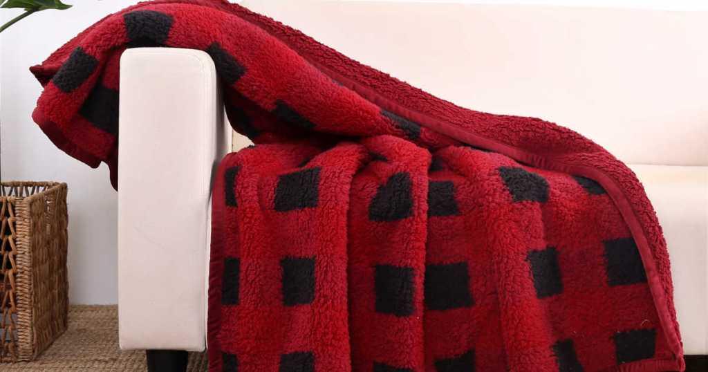 red plaid Gardens Sherpa Throw Blanket