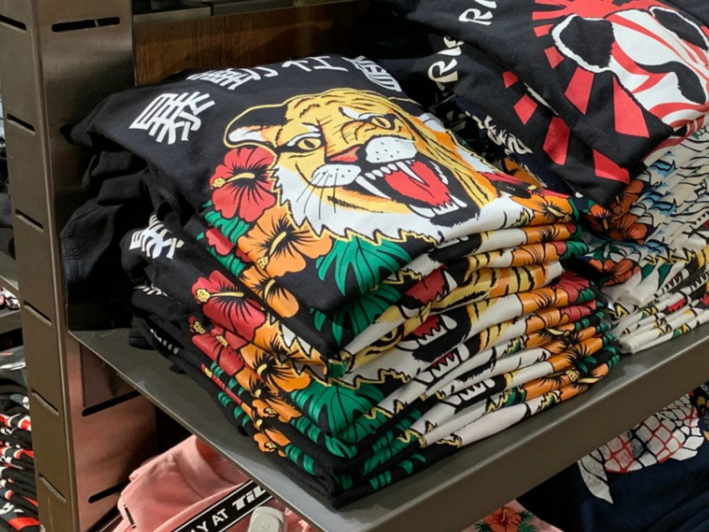 In-store display of boys graphic tees