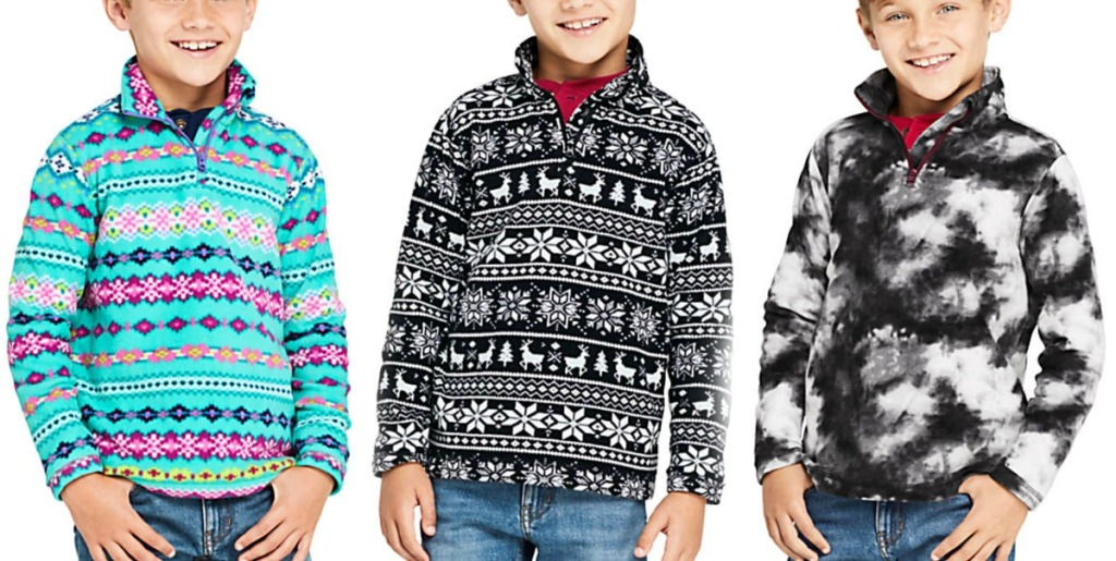 Boys wearing three different prints of pullover sweaters