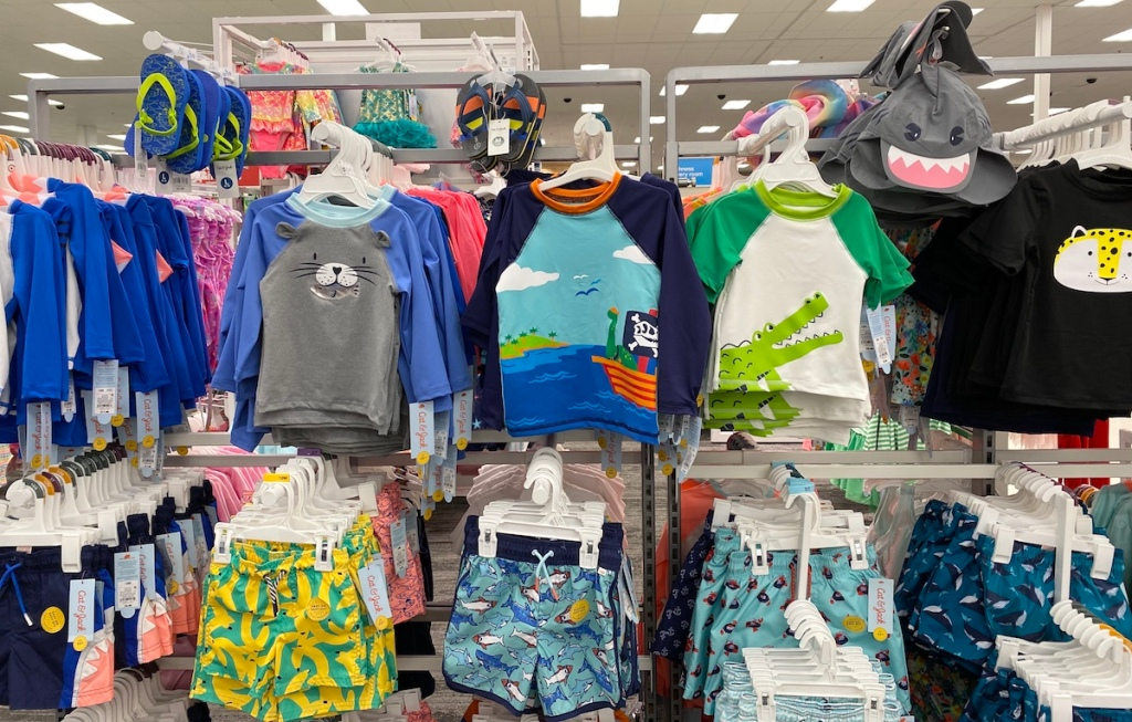 display of Boys Swimsuits at Target