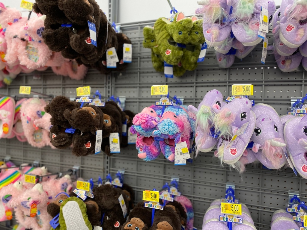 rows of Build-A-Bear slippers on display at Walmart