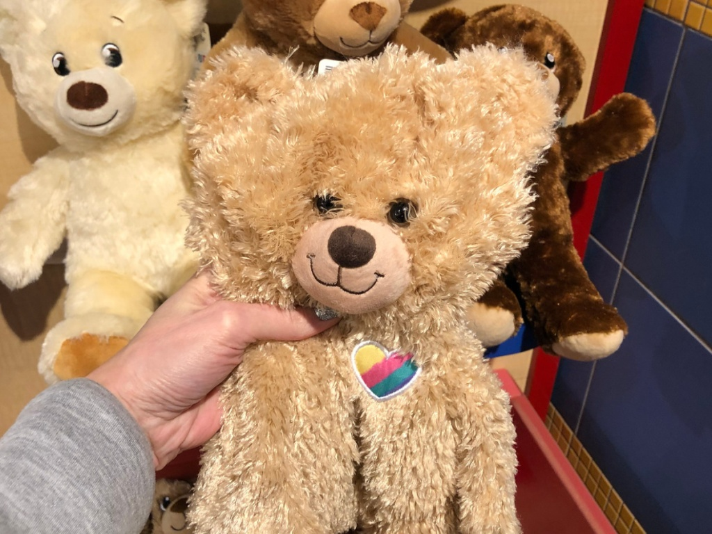 Hand holding Jason Mraz Bear at Build A Bear