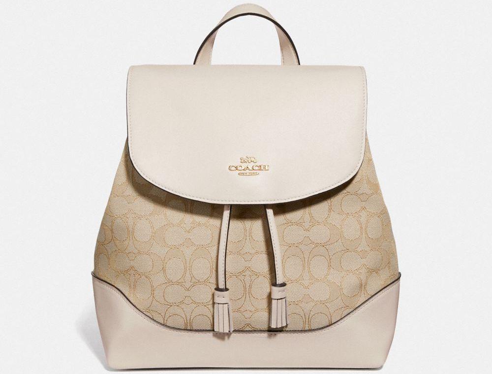 tan Coach backpack