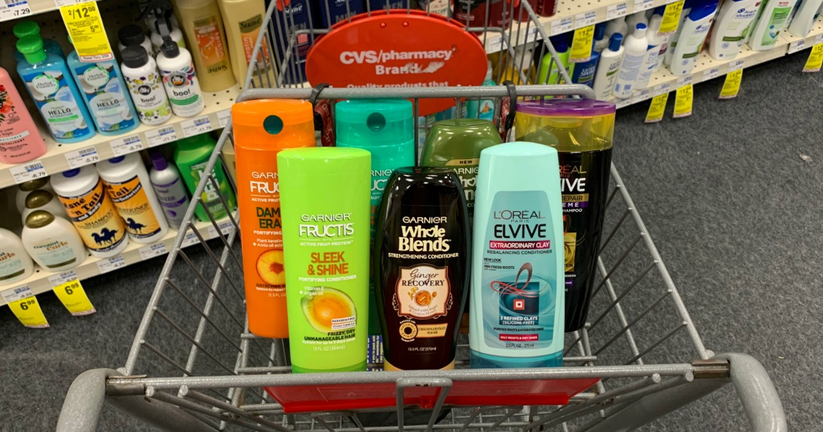 Shampoo and conditioner in cart at CVS