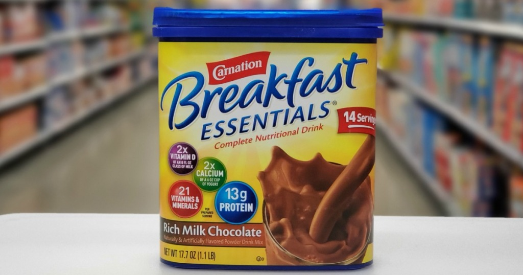 Carnation Breakfast Essentials Canister sitting on counter