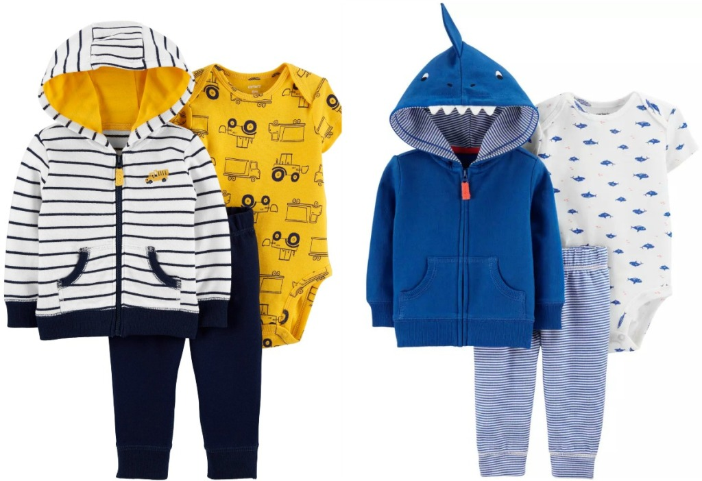 Carter's brand boys outfits in two different styles - trucks and shark