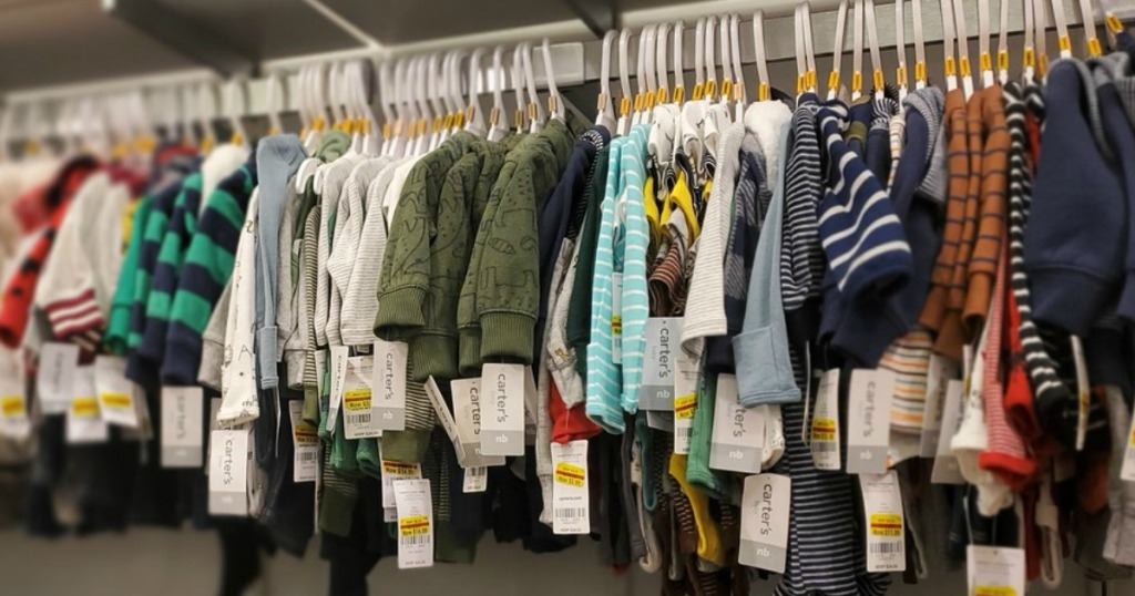 rack full of Carter's Clearance Kids Clothes